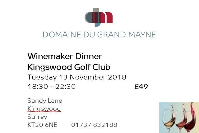 Winemaker dinner at Kingswood Golf & Country Club
