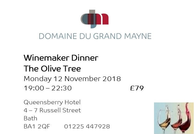 Winemaker dinner at The Olive Tree, Bath